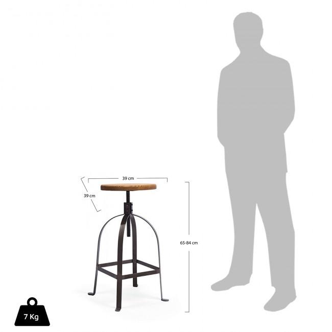 Tabouret de bar à vis Henri Ford de profil