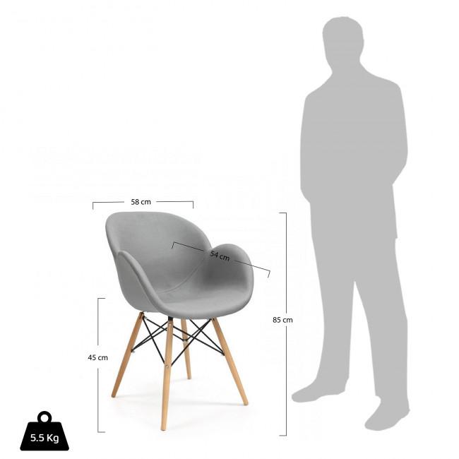Chaise design tissu Ki-oon Soft gris clair