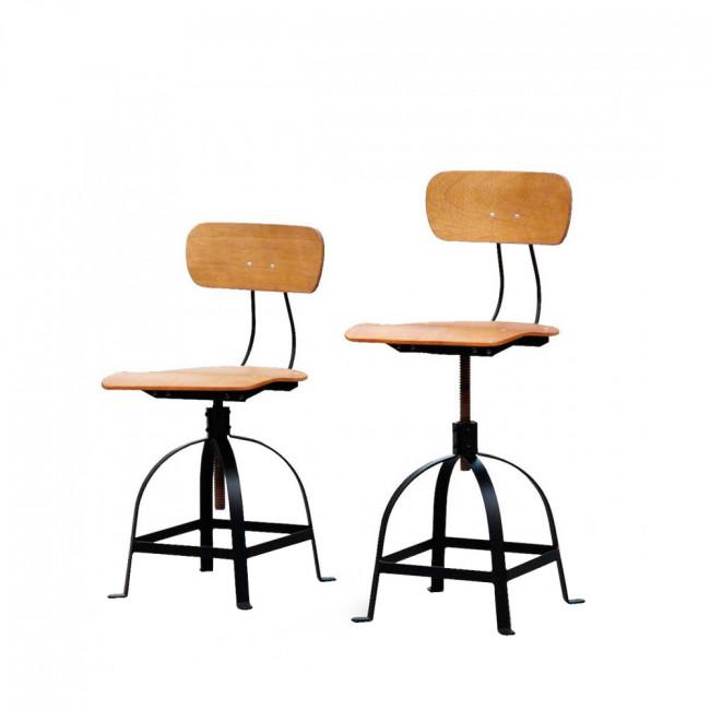 Chaise industrielle architecte JB Pennel bois