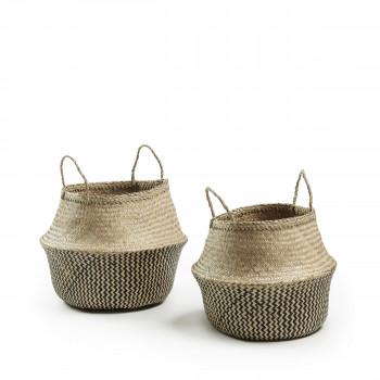 Lot de 2 paniers fibre végétale Thaï