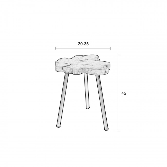 Table d'appoint teck et métal TreeTop