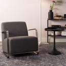 Fauteuil lounge tissu & inox Adwin Zuiver Noir