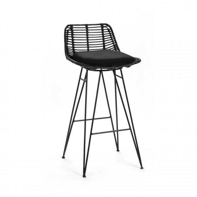 Chaise de bar design en rotin noir 69cm Capurgana