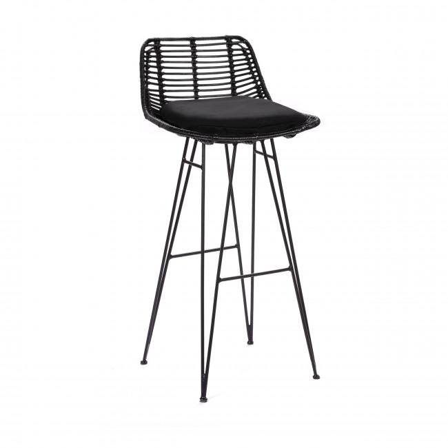 Chaise de bar design en rotin noir 75cm Capurgana