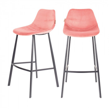 Lot de 2 tabourets de bar en velours 80cm Franky Dutchbone