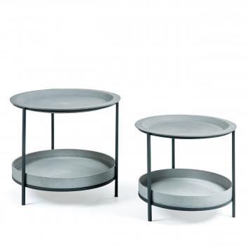 Lot de 2 tables d'appoint en métal et ciment Aurélie