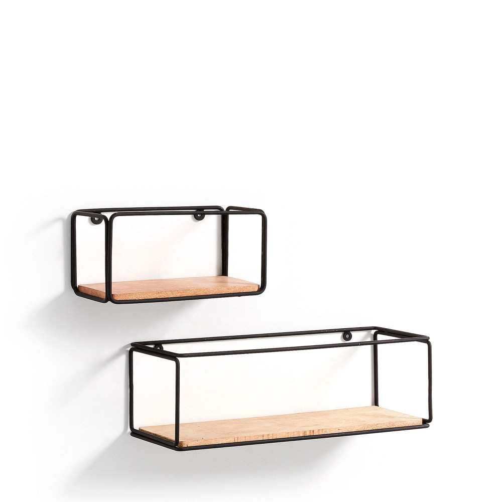 lot de 2 tag res murales en m tal nezz drawer. Black Bedroom Furniture Sets. Home Design Ideas