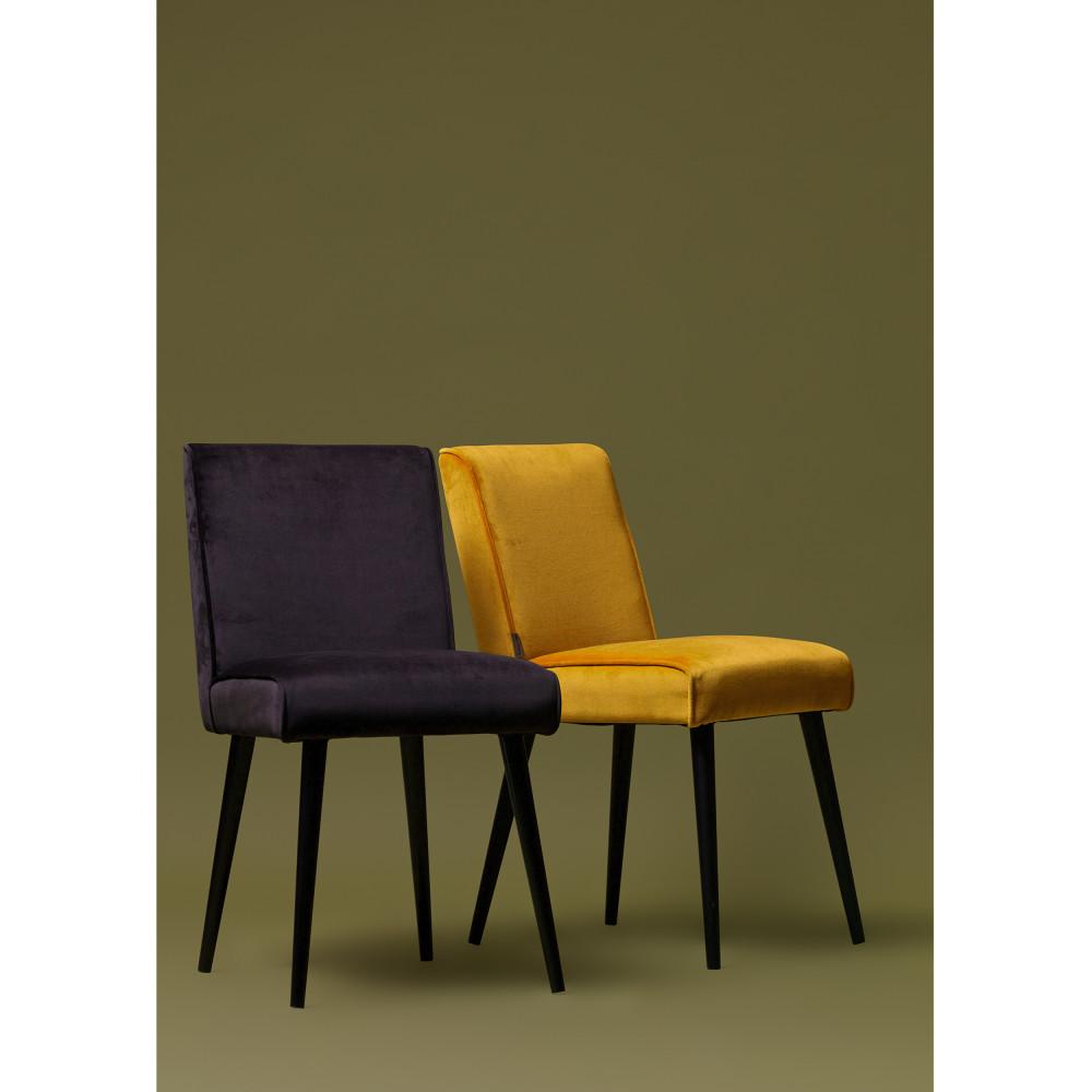 2 Chaises Design En Velours Woood Sara