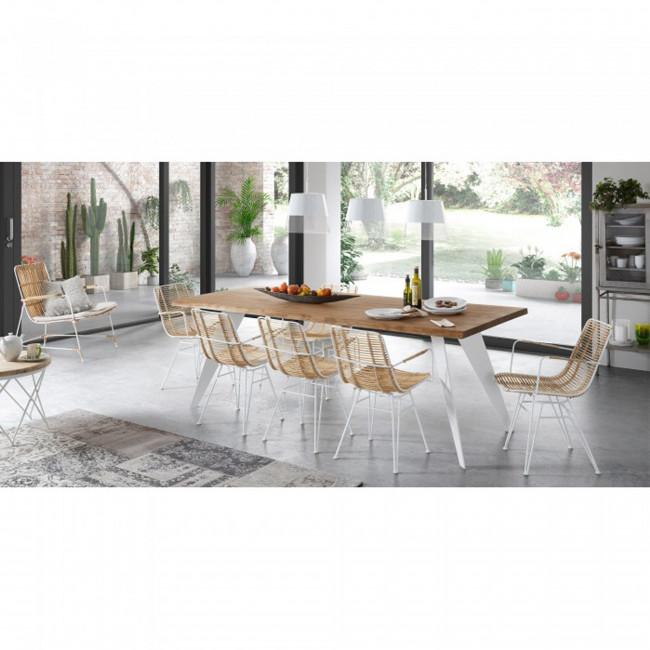 Lot de 2 chaises design en rotin et métal Tishana
