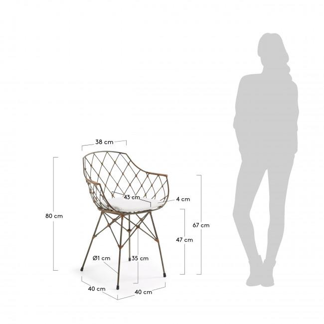 Lot de 2 chaises design en rotin et métal Endora