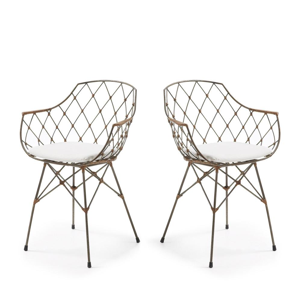 Lot De 2 Chaises Design En Rotin Et Mtal Endora