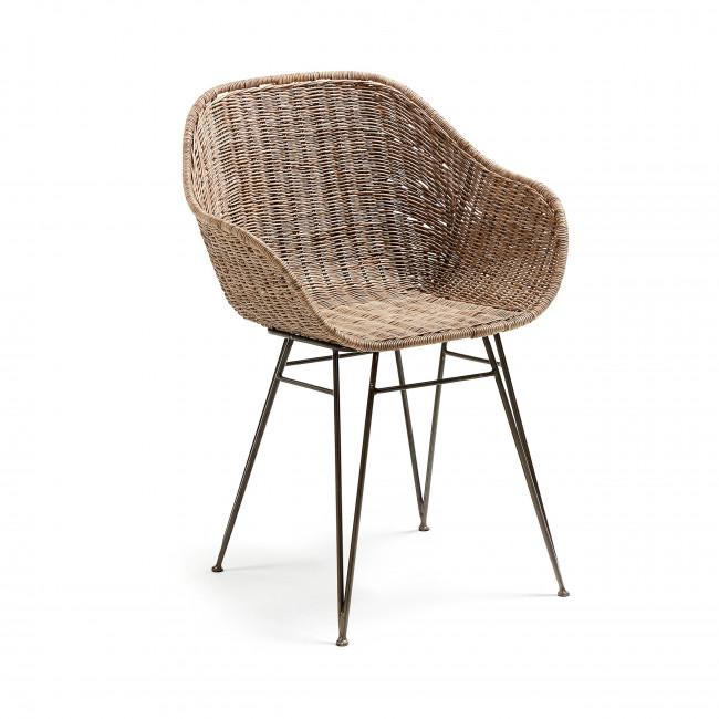 Chaise design en métal et rotin Chart
