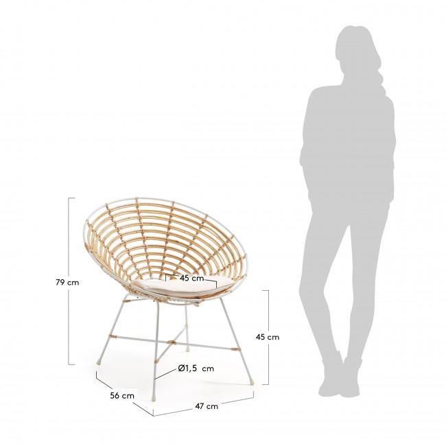 Fauteuil design rond en métal et rotin Tellkar