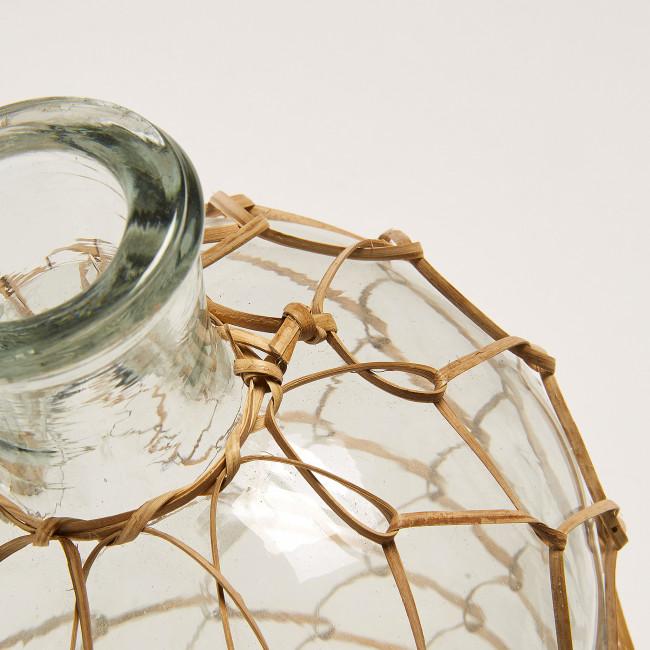 Vase en verre et rotin 34 cm Dawson