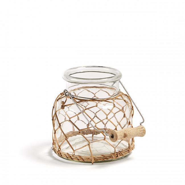 Vase en verre et rotin 16 cm Dawson