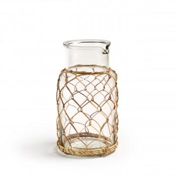 Vase en verre et rotin 24 cm Dawson