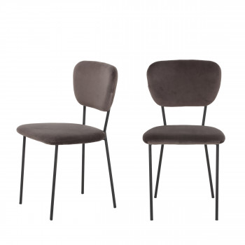 Lot de 2 chaises design en velours Pia