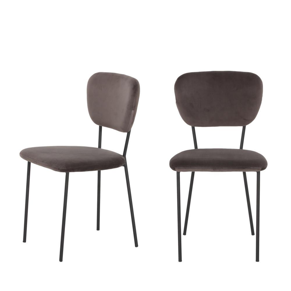 lot de 2 chaises design en velours pia drawer. Black Bedroom Furniture Sets. Home Design Ideas