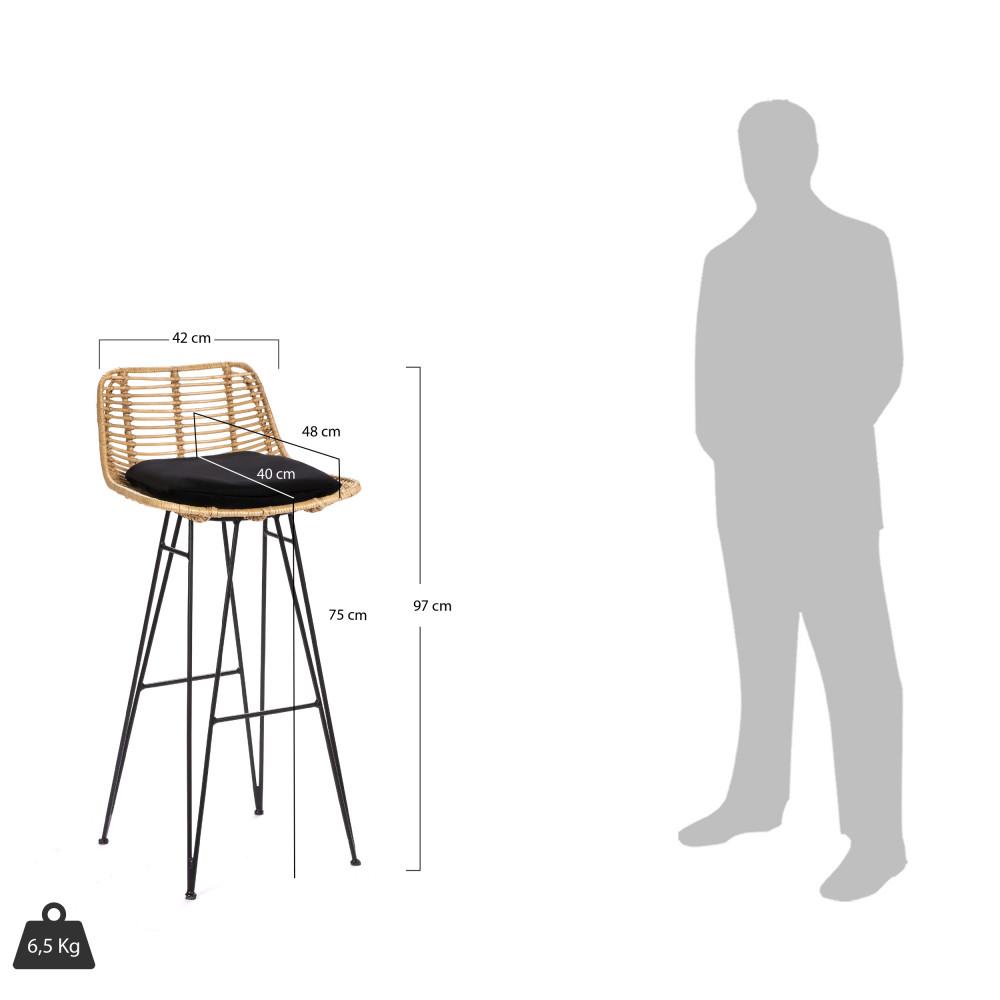 Chaise De Bar Design En Rotin 75cm Capurgana Drawer