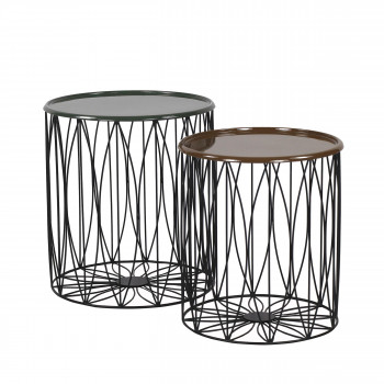 Lot de 2 tables basses en fer Diamos Pomax