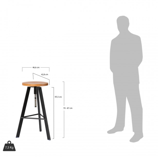 Tabouret de bar à vis bois et métal Alphonse