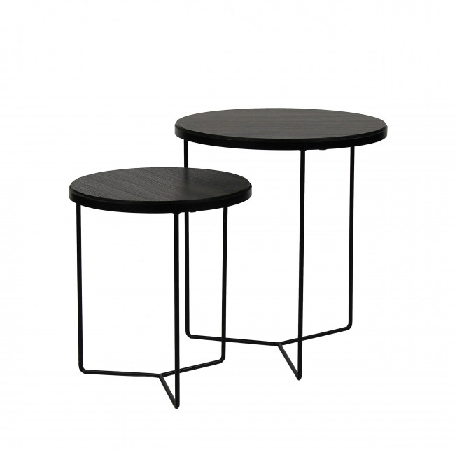 Lot de 3 tables gigognes en bois et métal Miso Pomax