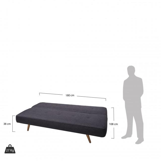 Canapé Convertible scandinave Siri noir vue de face