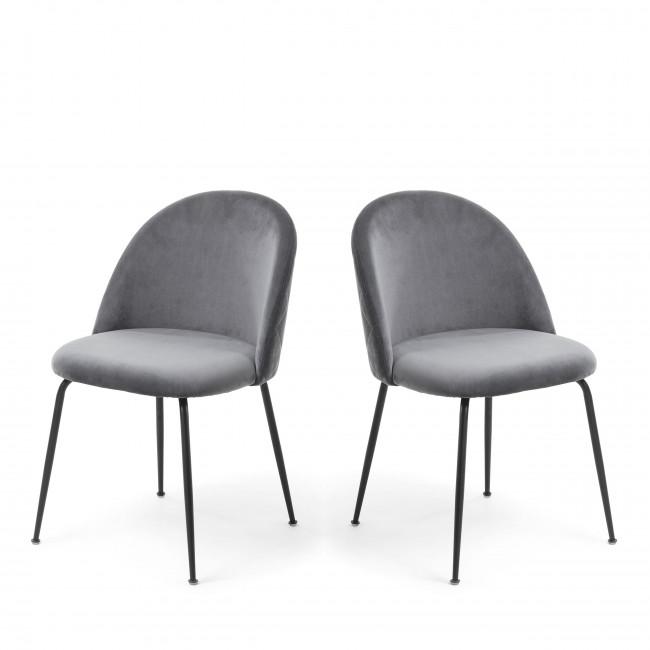 Lot de 2 chaises en velours et pieds noirs Ivonne