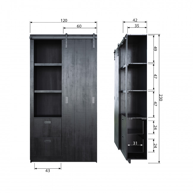 Armoire design bois porte coulissante Barn