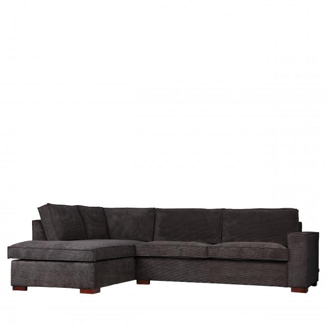 Canapé d'angle gauche tissu vert côtelé Thomas