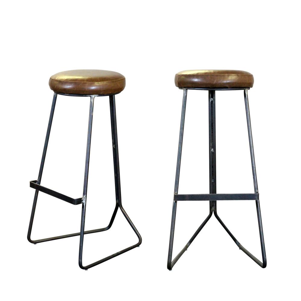 lot de 2 tabourets de bar en m tal et simili cuir colombus. Black Bedroom Furniture Sets. Home Design Ideas