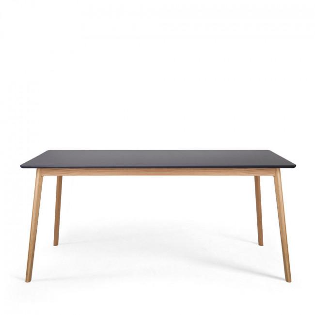 Table à manger design scandinave bois et laque grise Skoll