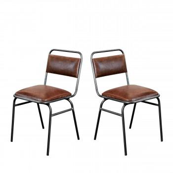 Lot de 2 chaises en métal et simili-cuir Wellington Redcartel