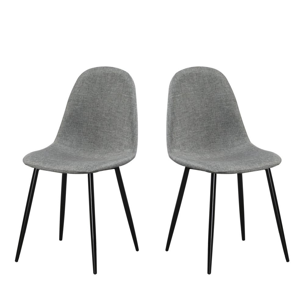 Lot De 2 Chaises Design En Tissu Et Pieds Noirs Vitikko