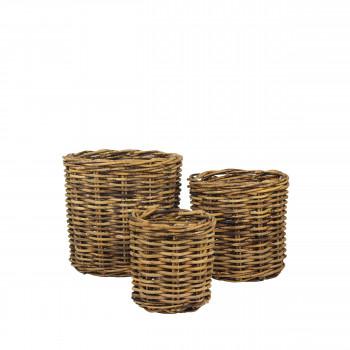 Lot de 3 cache-pots en rotin Pianta Pomax