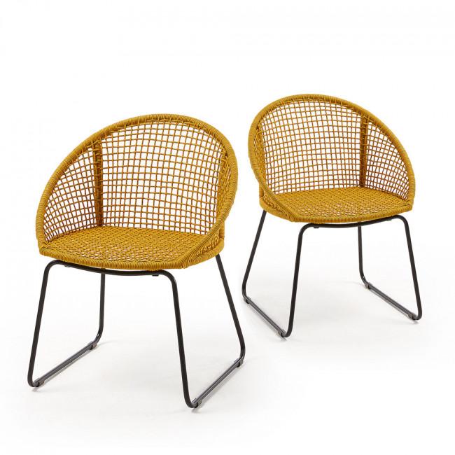 Lot de 2 chaises métal et corde indoor/outdoor Sandra