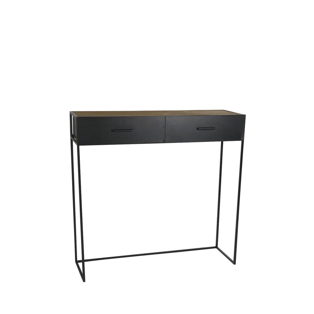 console 2 tiroirs en fer et bois essential pomax drawer. Black Bedroom Furniture Sets. Home Design Ideas