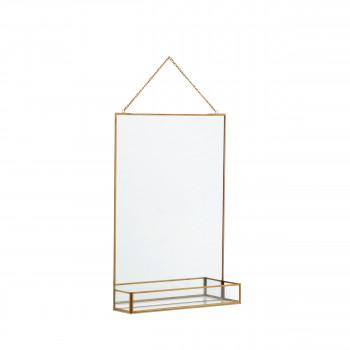 Miroir en métal avec étagère Raerh