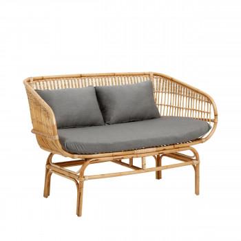 Canapé 2 places en rotin vintage Taarbaek