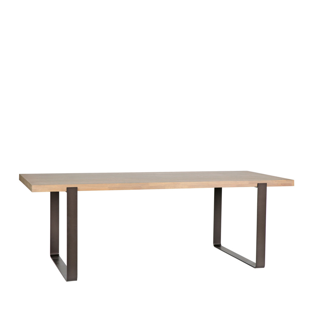 table manger en bois massif et m tal 220 x 90 cm jamie drawer. Black Bedroom Furniture Sets. Home Design Ideas