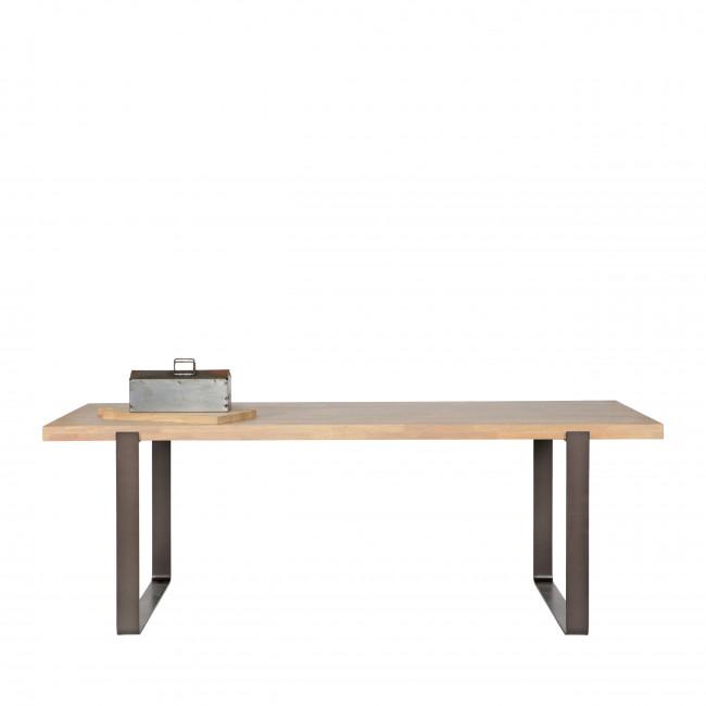 Table à manger en bois massif et métal 220 x 90 cm Jamie