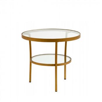 Table basse ronde en verre et métal Niva