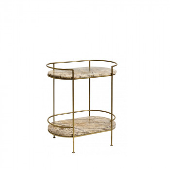 Table d'appoint ovale en marbre Jungle