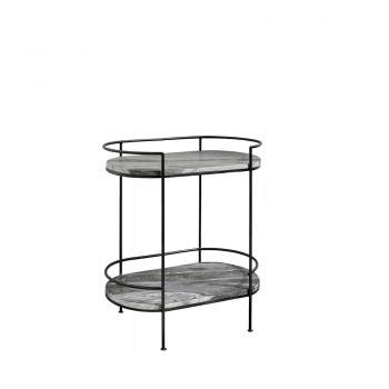 Table d'appoint ovale en marbre Midnight