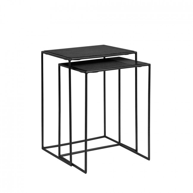 Lot de 2 tables gigognes en marbre et métal Haved
