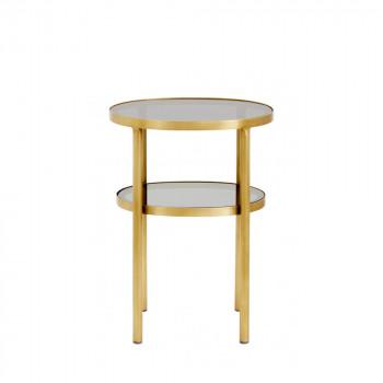 Table d'appoint en verre et métal Niva