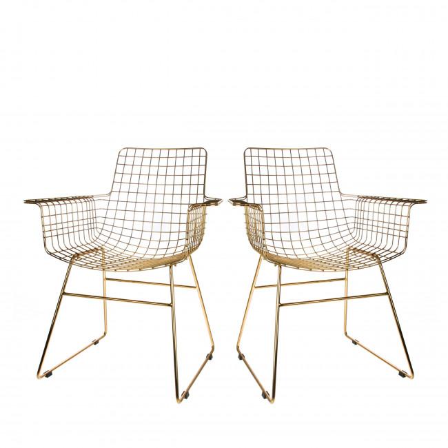 Lot de 2 chaises en métal quadrillées Aslaug