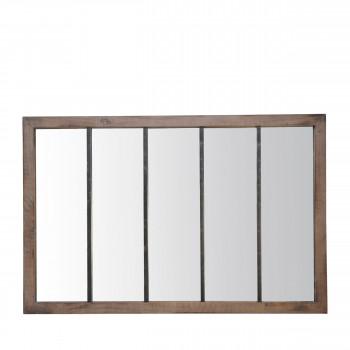 Oppy - Miroir verrière en métal et bois 140x90 cm