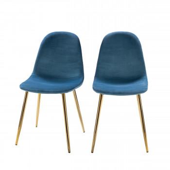 Lot de 2 chaises design en velours pieds dorés Vitikko