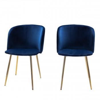 Lot de 2 fauteuils design en velours pieds dorés Vitikko